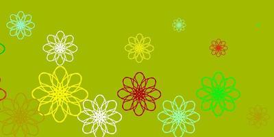 plantilla de vector verde claro, amarillo con líneas curvas.