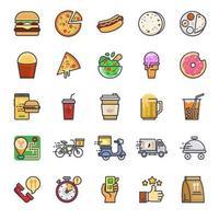 conjunto de iconos de comida rápida