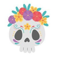 día de muertos, calavera de azúcar catrina con flores celebración mexicana vector
