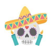 día de muertos, calavera con sombrero y velas celebración mexicana vector