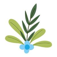 gardening, blue flower leaves foliage nature isolated icon style vector