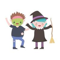 happy halloween, kids with zombie and witch costumes cartoon vector