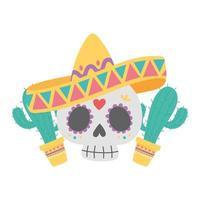 dia de los muertos, calavera con sombrero y cactus en maceta celebración mexicana vector