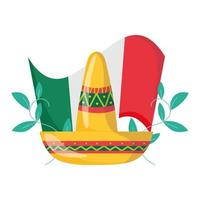 mexican independence day, hat and flag floral decoration, celebrated in september