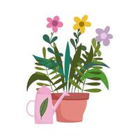 gardening, flowers in pot and watering can nature isolated icon style vector