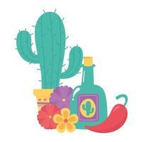 día de los muertos, cactus en macetas, tequila, ají y flores, celebración mexicana vector