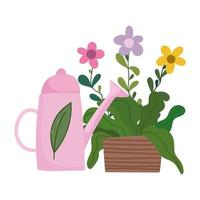 happy garden, watering can and flowers in pot decoration vector