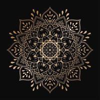 Gold luxury mandala design on black background vector