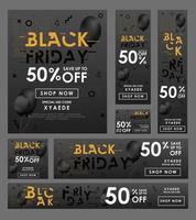 Black friday Sale banner Design set. vector