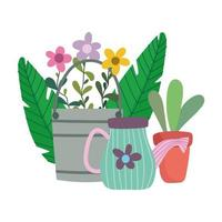 happy garden, bucket watering can boot flowers and potted plant vector