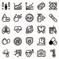 Coronavirus and medical icon set vector
