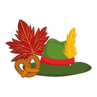 oktoberfest festival, germany hat pretzel and leaf autumn, traditional german celebration