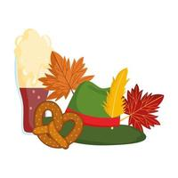 oktoberfest festival, green hat with feather pretzel and autumn leaves, traditional german celebration