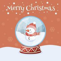 Merry Christmas greeting card with snow globe. vector illustration