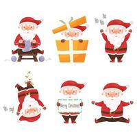 Cute cartoon Santa Claus character set. Vector illustration.