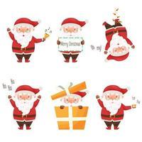 Cute cartoon Santa Claus character set. vector