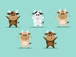 set of cute cow cartoon vector