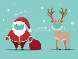 santa claus and reindeer with surgical mask covid-19 social distancing concept