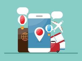 reserva y viaje con aplicación móvil