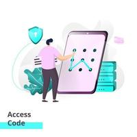 Landing page template of Access Code vector