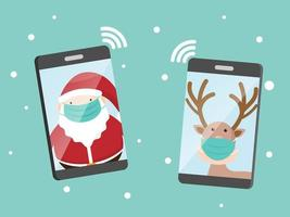 santa claus and reindeer with surgical mask calling on smartphone