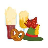 oktoberfest festival, beers with foam hat and pretzel, traditional german celebration