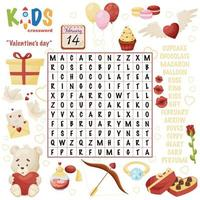 Easy word search crossword puzzle Valentines day