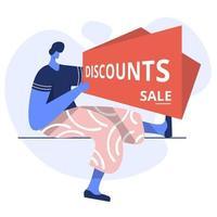 Flat Illustration of Discounts Sale