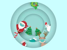 merry christmas and happy new year with santa claus and reindeer vector