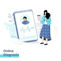 Ilustración plana del diagnóstico en línea, el concepto de una doctora que brinda diagnósticos de pacientes a través de un teléfono inteligente, que se adapta a los sitios web de las páginas de destino y el desarrollo de sitios web móviles. vector
