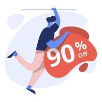 Flat Illustration of 90 Off