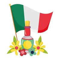 mexican independence day, flag tequila bottle and flowers, celebrated in september