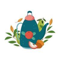autumn teapot apple acorn leaves isolated design white background vector
