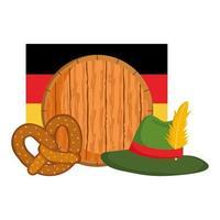 Oktoberfest festival, bandera de sombrero de barril y pretzel, celebración tradicional alemana