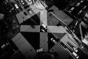 Tokyo, Japan, 2020 - Black and white aerial view of a busy intersection