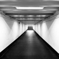 London, UK, 2020 - Grayscale of a hallway with stairs