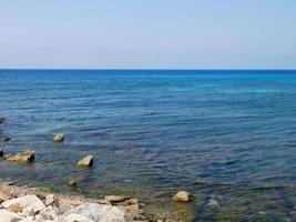 Blue seashore at daytime