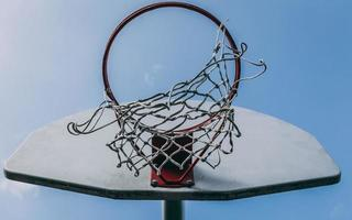 Low-angle of a basketball hoop