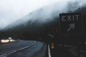 Exit sign along a road
