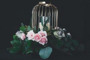 Birdcage centerpiece with flowers