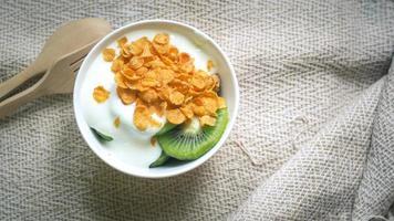 Top view of yogurt photo