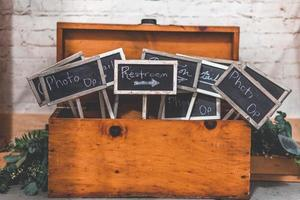 Chalkboard signage in a wooden trunk