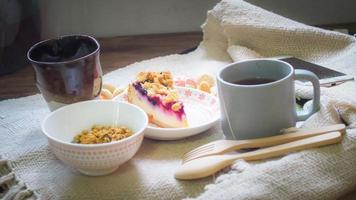 Breakfast and coffee on a table photo