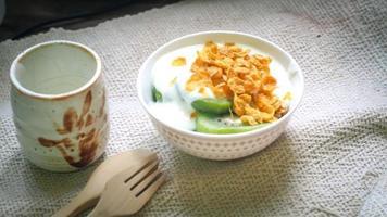 Bowl of yogurt photo
