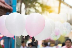Pink and white balloon with soft light. Congratulation.