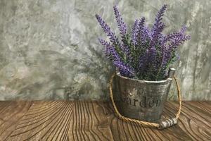 Lavender in a metal bucket photo