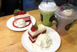 Cakes and drinks photo