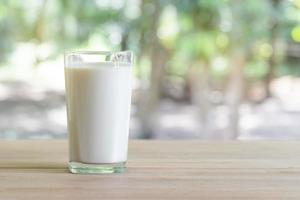 Glass of milk on desk with nature background. photo