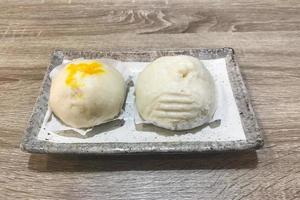 Steamed buns on a tray