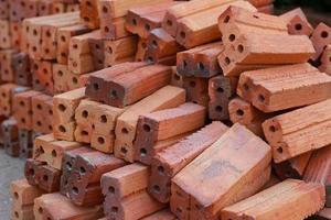 Pile of red bricks